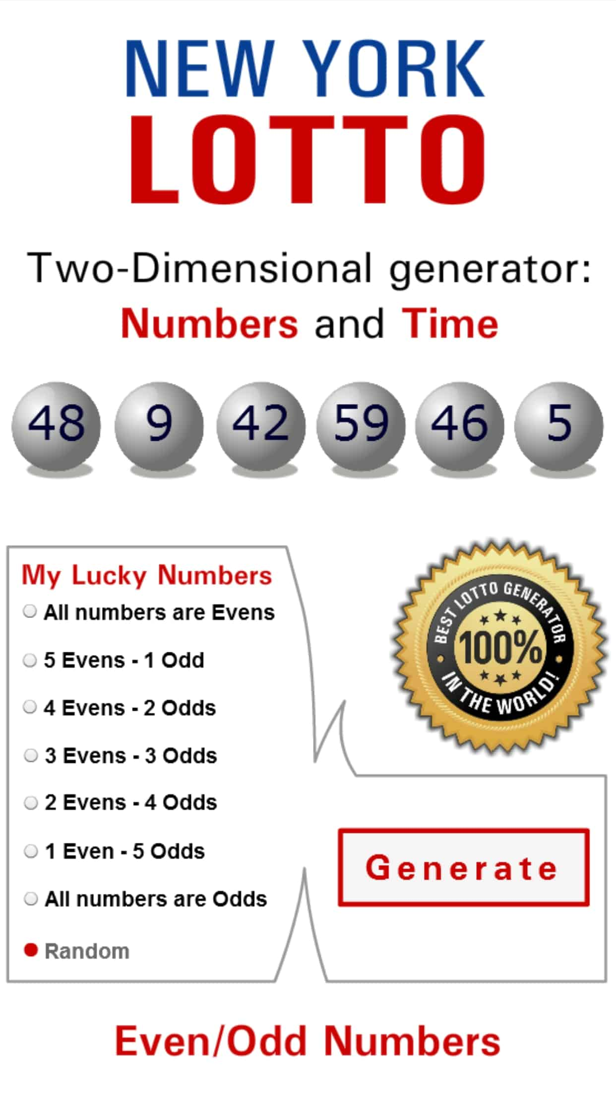 Six lucky numbers for lotto